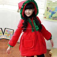 New Christmas Red Girls Outcoats Thicken Santa Jacket Warm Winter Cotton Children Clothes Wholesale For 3-7Y