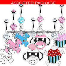 Different shaped animal navel ring 316L steel body piercing jewelry