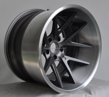 Brush Outer,Textured Dark Gunmetal Center 3 Piece Forged Wheel