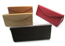 Triangle folding eyeglasses cases/ imitation wooden grain PU cases