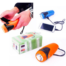 2014 hot sale new plastic hand crank green led flashlight for Camping/Emergency/hunting
