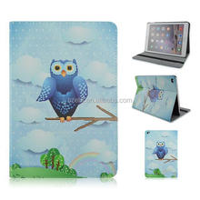 Cute night-owls series printing PU leather case, Folio flip stand case for ipad 6