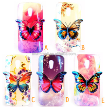 phone accessories 3D color printed butterfly cover case for Motorola G2 ,TPU mobile phone case for Motorola