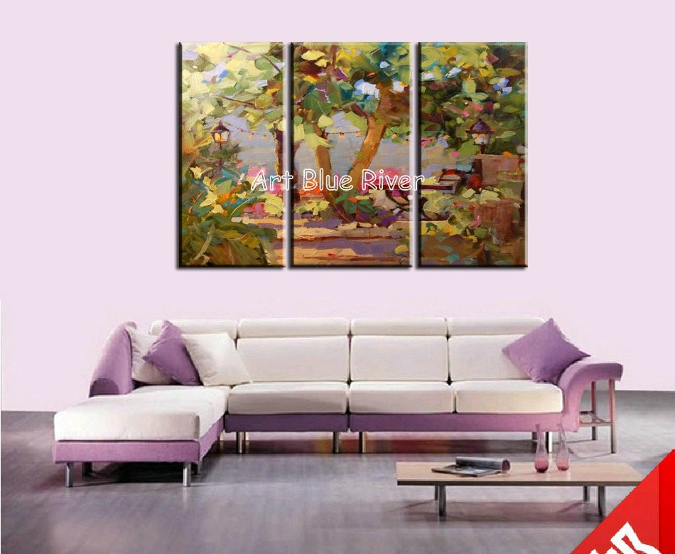 Buy 3 panel Knife paint abstract handpainted wall art Garden oil painting on canvas for living room wall picture Kitchen decoration cheap