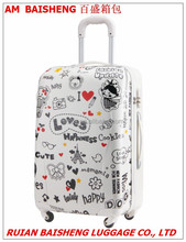 high quality pc material suitcase luggage trolley case with printing film cover