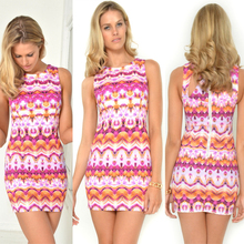 Wholesale fashion printing sexy adult lady girls party dress