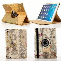 Map Style PU Leather Stand Protective Case For iPad Air 2