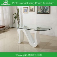 Modern Oval Tempered Glass Dining Table