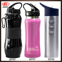 2015 New Design Lightweight Camping SS Sports Bottle With Plastic Straw Lid For Outside Sports 500ML