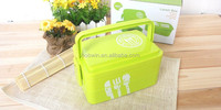2 Side Locked Elongated Double Layers Plastic Kids Lunch Box