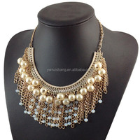 Fashion style metal chain tassel beaded statement bib necklace