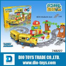 Children plastic block rail station toy, Assemble train toy
