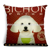 Decorative throw pillow case with puppy