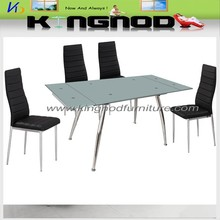 extention glass dining table with chrome-plated steel tube frame
