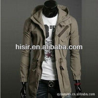 Men Korean version of the classic military jacket and long sections Hooded casual jacket