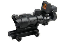 1-0183 4x32 ACOG style fiber scope with mini red dot sight leupold riflescope
