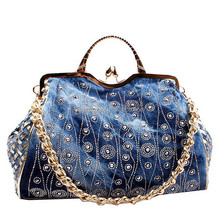 Classic Casual Women's Handbag Blue Denim Cross Body Shoulder Bag Messenger Bag