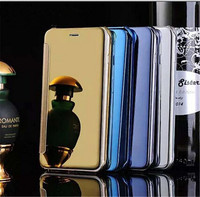 Newest Clear View Smart Cover Flip Leather Mirror Cell Phone Case for iPhone 5 5S 6 6Plus