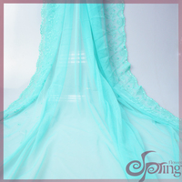 Elegant netting embroidery fabric lace, green flower embroidered lace fabric for wedding dress