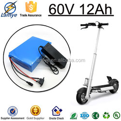 Rechargeable 60V 12Ah Electric Motorcycle Battery Pack with Charger BMS