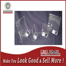 high quality clear acrylic tabletop/ countertop slant back sign board holder with business card