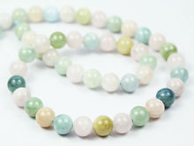 14 Inches - 10mm - RARE Natural Multi Green Blue Beryl & Morganite Smooth Polished Round Ball Beads Strand