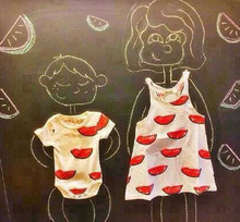 TF-04150808008 2015 venta caliente hermosa watermalon orgánico impreso traje de la familia para el vestido de la madre