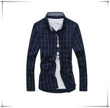 New 2015 Men's Shirts Casual Dress slim fit designer Plaid Shirts man Fashion Clothing Asian size: M-5XL D54 from OEM Guangzhou