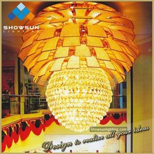 Spherical large crystal chandelier for hotel lobby suspension light