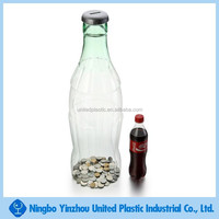 new product in europe for PET plastic disposable bottle shaped coin bank display