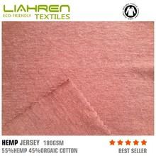 high quality hemp single jersey, hemp organic cotton jersey fabric for T shirt