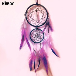Brown 4 ring dream catcher, white web with natural rooster feathers and a coral shell bead finish 7cm diameter - dreamcatcher ha