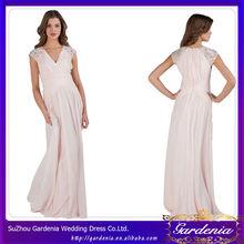 de color rosa con cuentas de largo de gasa acanalada mujeres vestidos largos vestidos de fiesta