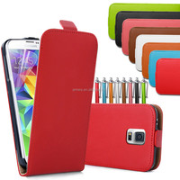High Quality real genuine leather flip case For Samsung galaxy S5 I9600 with free sreen protector and stylus pen