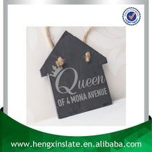 Promotion Handmade Hanging 12*11*0.5cm House Shape Slate Arts And Crafts (Customized Laser Design)