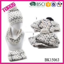 Crochet Hat, Knit Gloves, Knitted Hat Scarf Glove Set