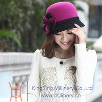 Wholesale Women Wool Felt Bucket Hat In Red/Black Color
