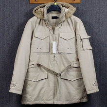 Casual Men's Hooded Duffel Coat With Belt, Medium to Long Outwear