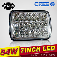54W C ree 5x7inch Aluminum LED driving light auto head lamp LED head light for 4x4 trucks