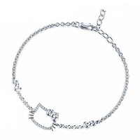 Christmas Gift AAA 100% Sterling Silver 925 Jewelry Bracelets & Bangles Lovely Cat Bracelet Free Shipping
