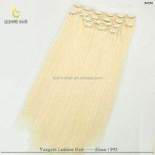 first selling high quality too thick light color wholesale virgin remy clip in hair extension cheap