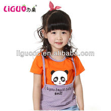 Fancy baby girls clothes panda print t-shirt children kid clothes