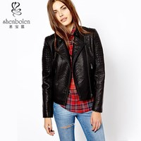 M3043 New fashion style hot sales cool black leather jacket made in China 2014 OEM