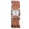 Gold watch band with square diamond watchcase