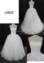 Lovely strapless ball gown wedding dress A-line puffy applique wedding dress bodice lace wedding dress of zipper
