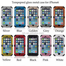 Shockproof Dirt proof Tempered Glass Metal Case for iPhone 6