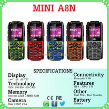 1.44 inch 500mah Dual sim Quadband bar Cheap phone A8N Telefono china cellphones