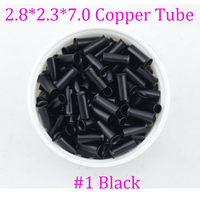 wholesale 2.8*2.3*7mm Copper Tubes Micro flaring Rings tube for loop feather Hair Extensions tools #1