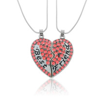 2 Pieces Personalized Name Pink Crystal Broken Heart Necklace For Best Friend