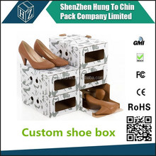 Corrugated cardboard paper custom print simple hand assembly packaging storage box for nike shoes